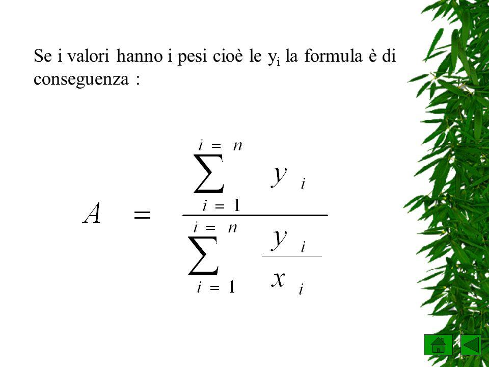 Se i valori hanno i pesi cioè le y i la formula è di conseguenza :