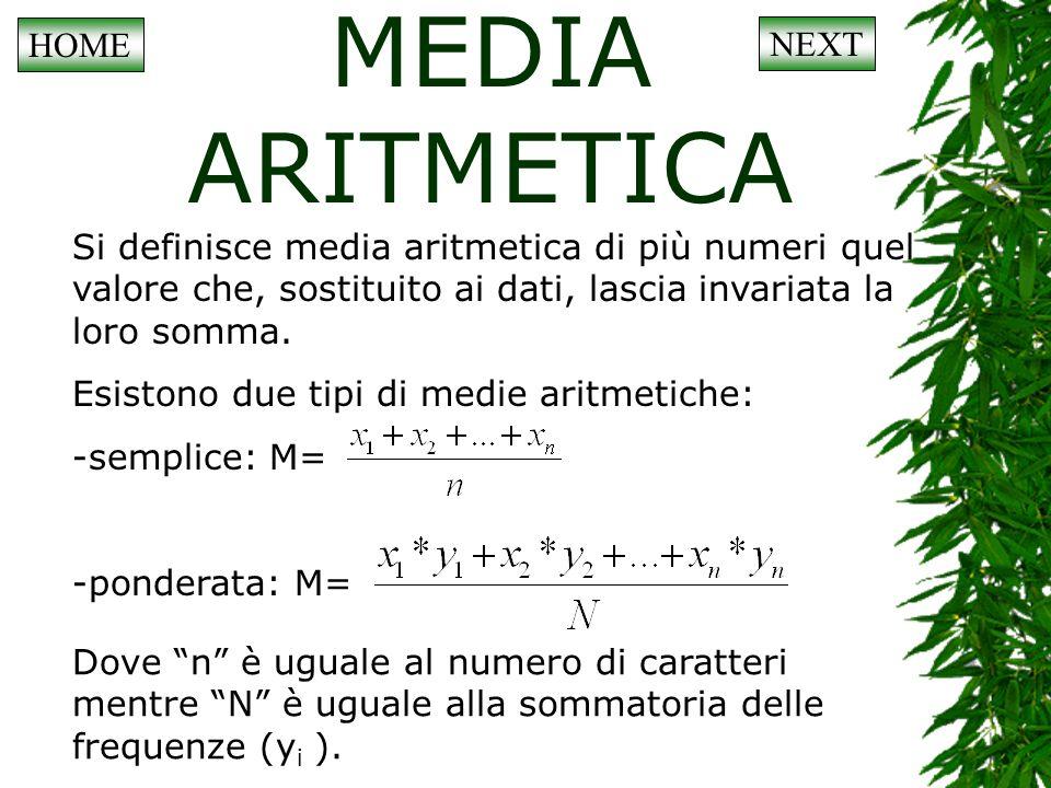 LE PROPRIETA DELLA MEDIA ARITMETICA Luso frequente della media aritmetica deriva dal fatto che essa gode di alcune proprietà fondamentali: La somma degli scarti positivi della media è uguale a quella degli scarti negativi, e quindi la somma algebrica di tutti gli scarti (positivi e negativi) è uguale a zero.