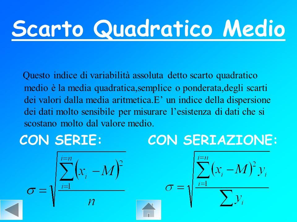 Scarto Quadratico Medio Questo indice di variabilità assoluta detto scarto quadratico medio è la media quadratica,semplice o ponderata,degli scarti de