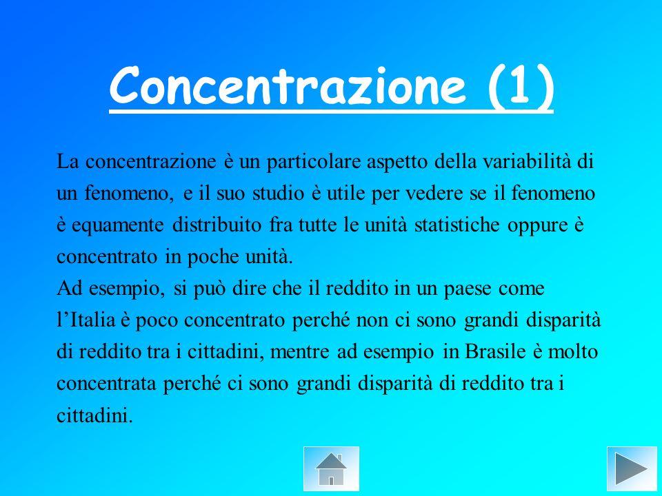 Concentrazione (1) La concentrazione è un particolare aspetto della variabilità di un fenomeno, e il suo studio è utile per vedere se il fenomeno è eq