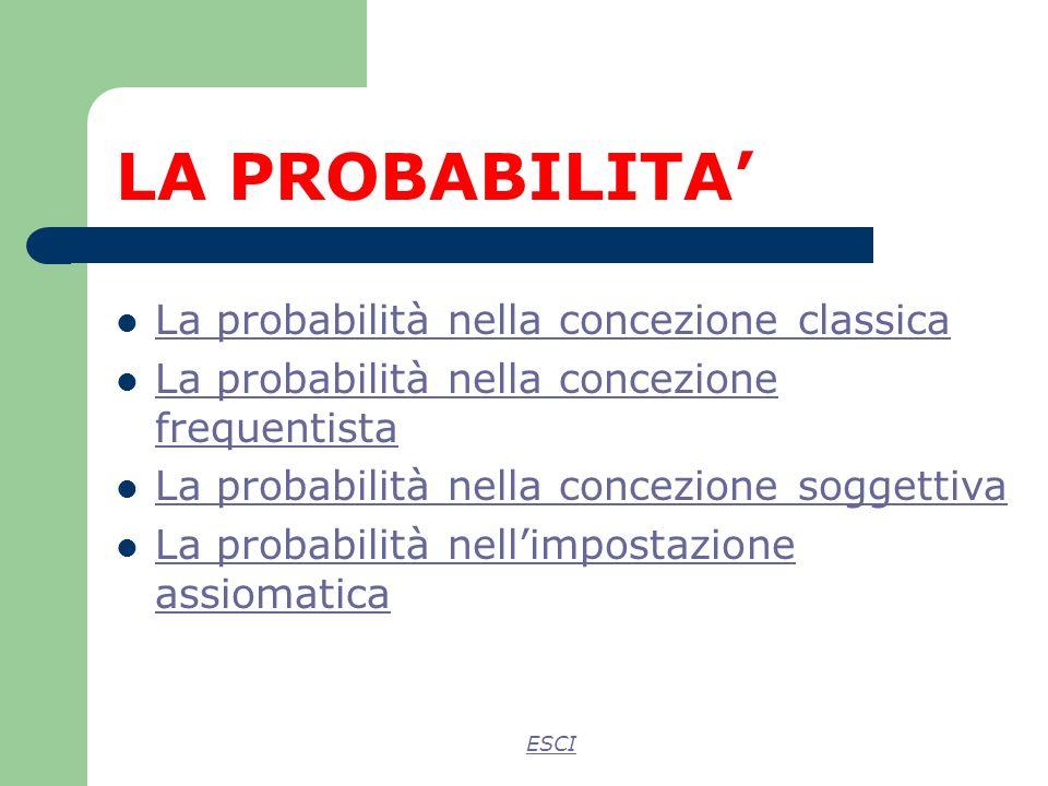 LA PROBABILITA La probabilità nella concezione classica La probabilità nella concezione frequentista La probabilità nella concezione frequentista La probabilità nella concezione soggettiva La probabilità nellimpostazione assiomatica La probabilità nellimpostazione assiomatica ESCI
