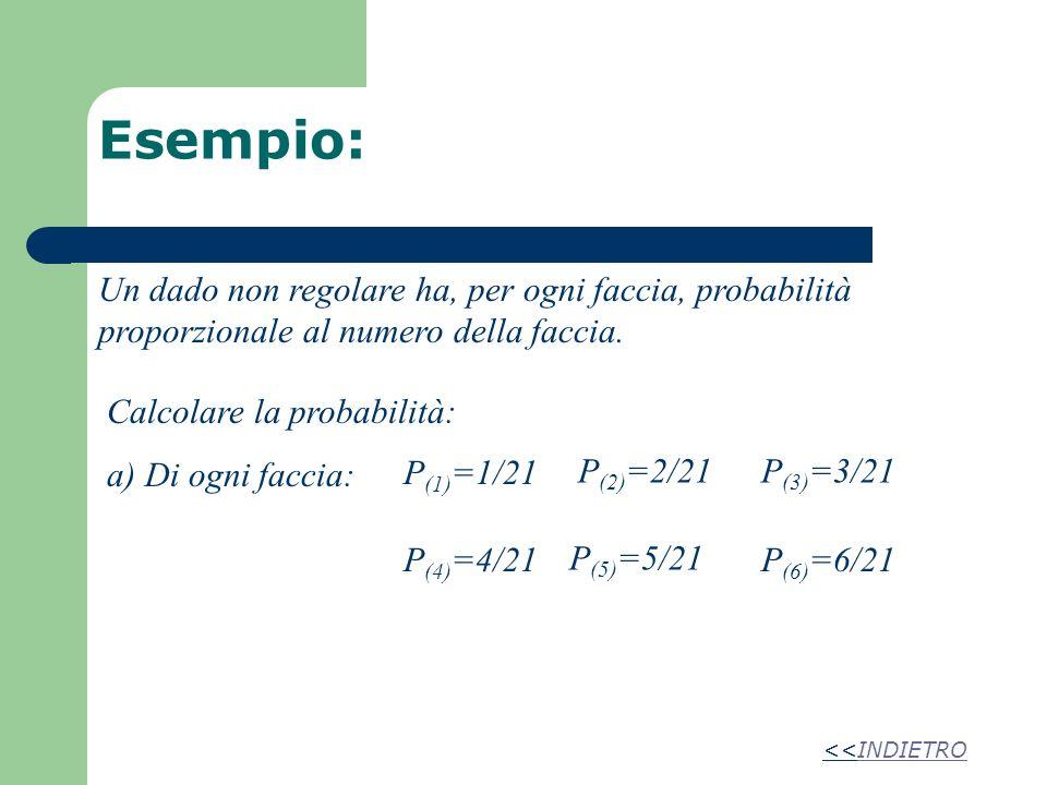 Esempio: Un dado non regolare ha, per ogni faccia, probabilità proporzionale al numero della faccia. Calcolare la probabilità: a) Di ogni faccia: P (1