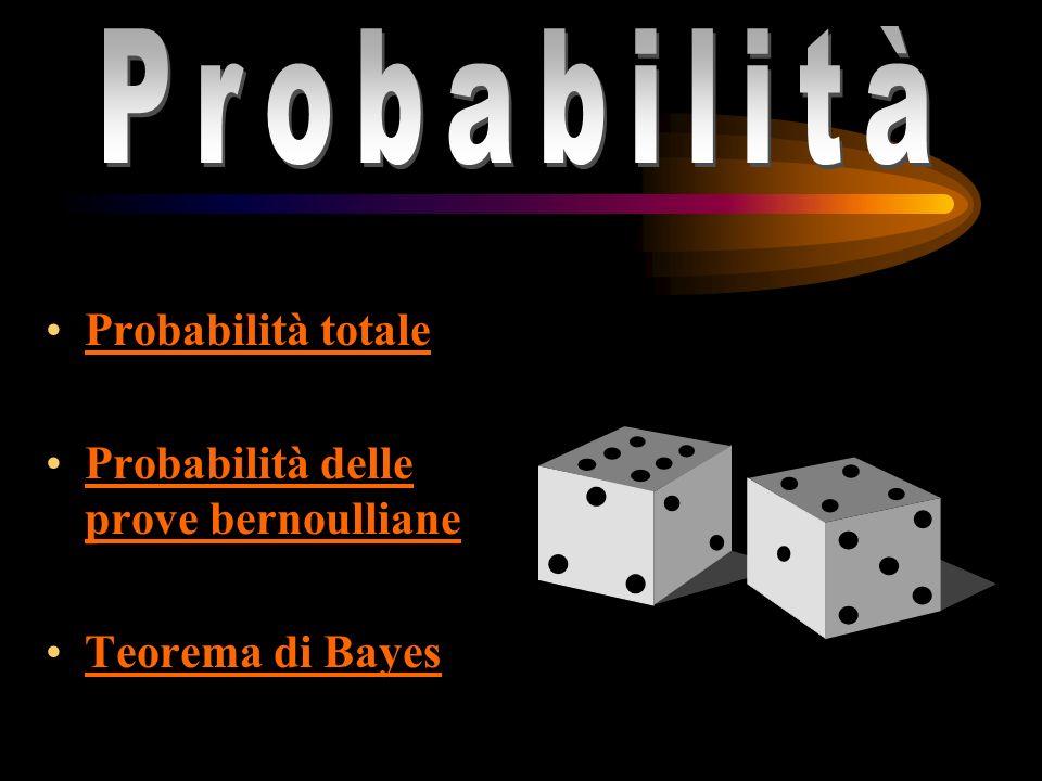 Probabilità totale Probabilità delle prove bernoulliane Probabilità delle prove bernoulliane Teorema di Bayes probabilità