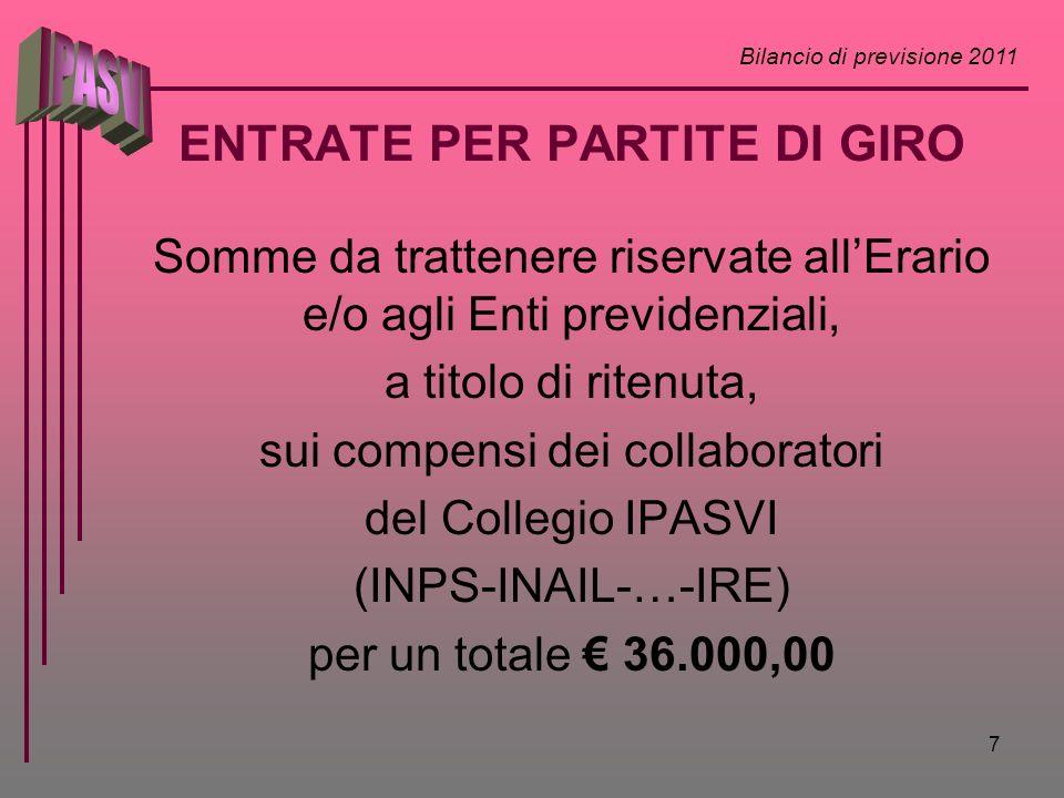 Bilancio di previsione 2011 7 ENTRATE PER PARTITE DI GIRO Somme da trattenere riservate allErario e/o agli Enti previdenziali, a titolo di ritenuta, s