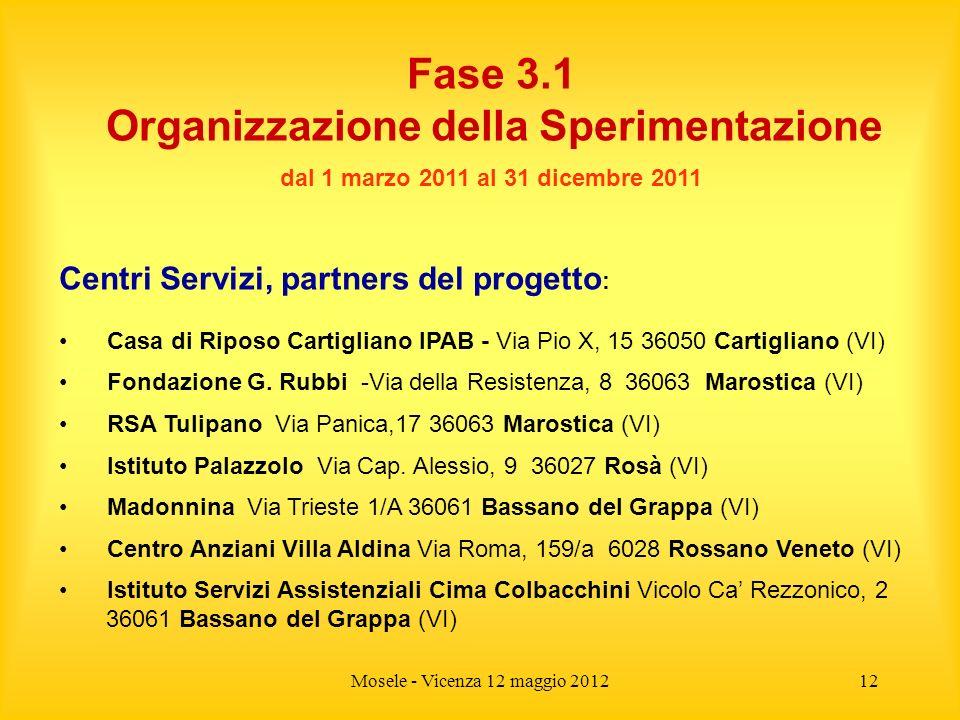 Mosele - Vicenza 12 maggio 201212 Fase 3.1 Organizzazione della Sperimentazione dal 1 marzo 2011 al 31 dicembre 2011 Centri Servizi, partners del prog