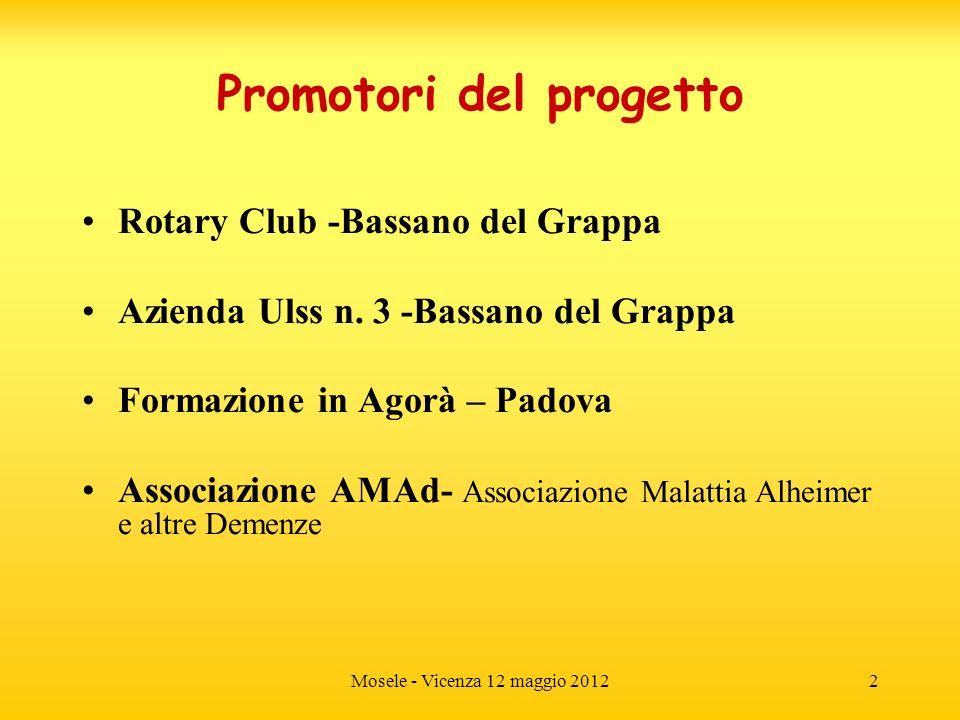 Mosele - Vicenza 12 maggio 20122 Promotori del progetto Rotary Club -Bassano del Grappa Azienda Ulss n. 3 -Bassano del Grappa Formazione in Agorà – Pa