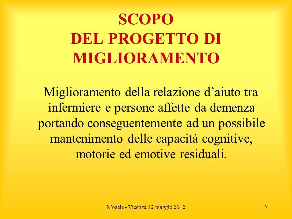 Mosele - Vicenza 12 maggio 20123 SCOPO DEL PROGETTO DI MIGLIORAMENTO Miglioramento della relazione daiuto tra infermiere e persone affette da demenza