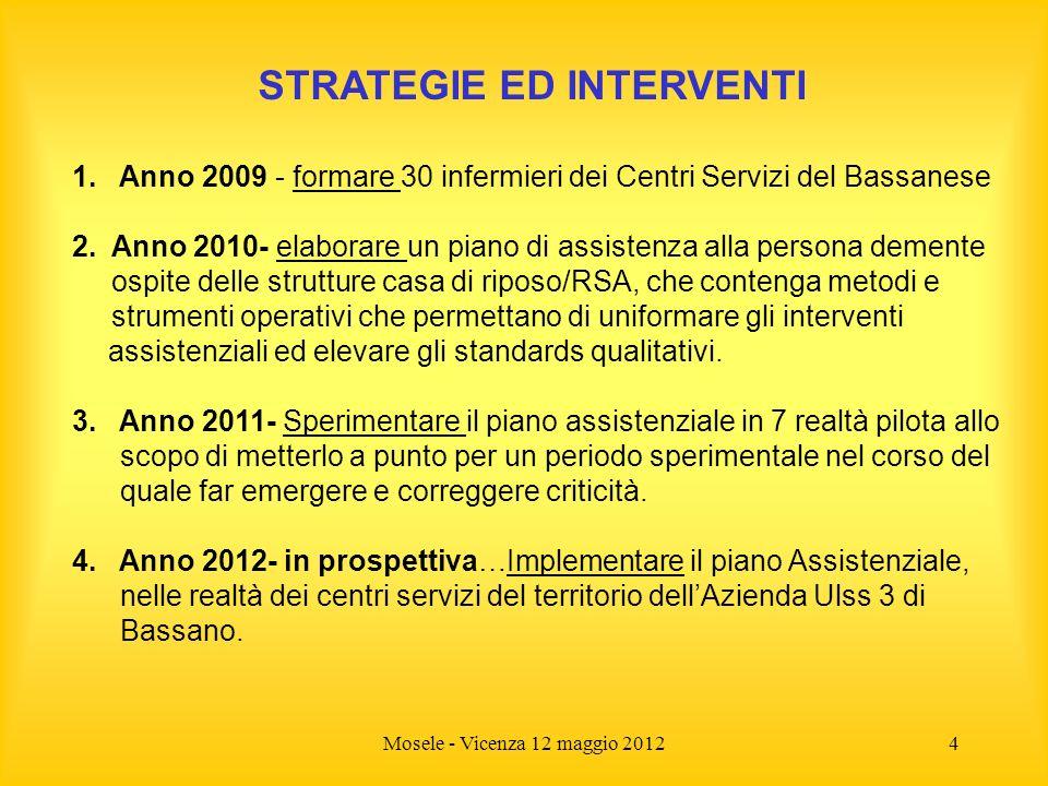 Mosele - Vicenza 12 maggio 20124 STRATEGIE ED INTERVENTI 1. Anno 2009 - formare 30 infermieri dei Centri Servizi del Bassanese 2. Anno 2010- elaborare