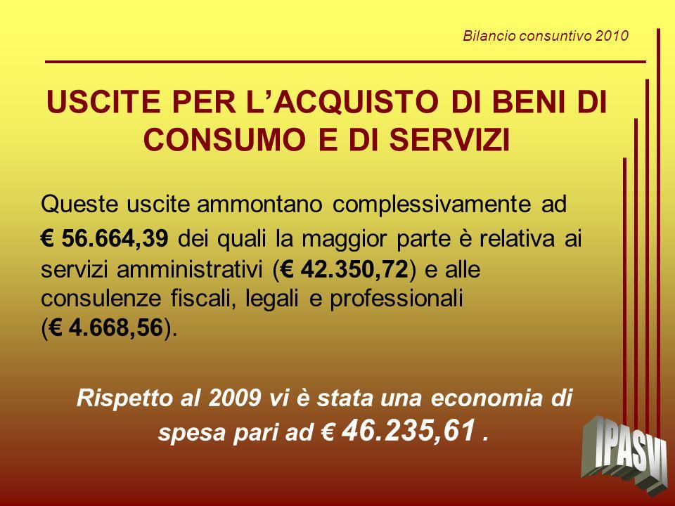 Bilancio consuntivo 2010 USCITE PER LACQUISTO DI BENI DI CONSUMO E DI SERVIZI Queste uscite ammontano complessivamente ad 56.664,39 dei quali la maggior parte è relativa ai servizi amministrativi ( 42.350,72) e alle consulenze fiscali, legali e professionali ( 4.668,56).
