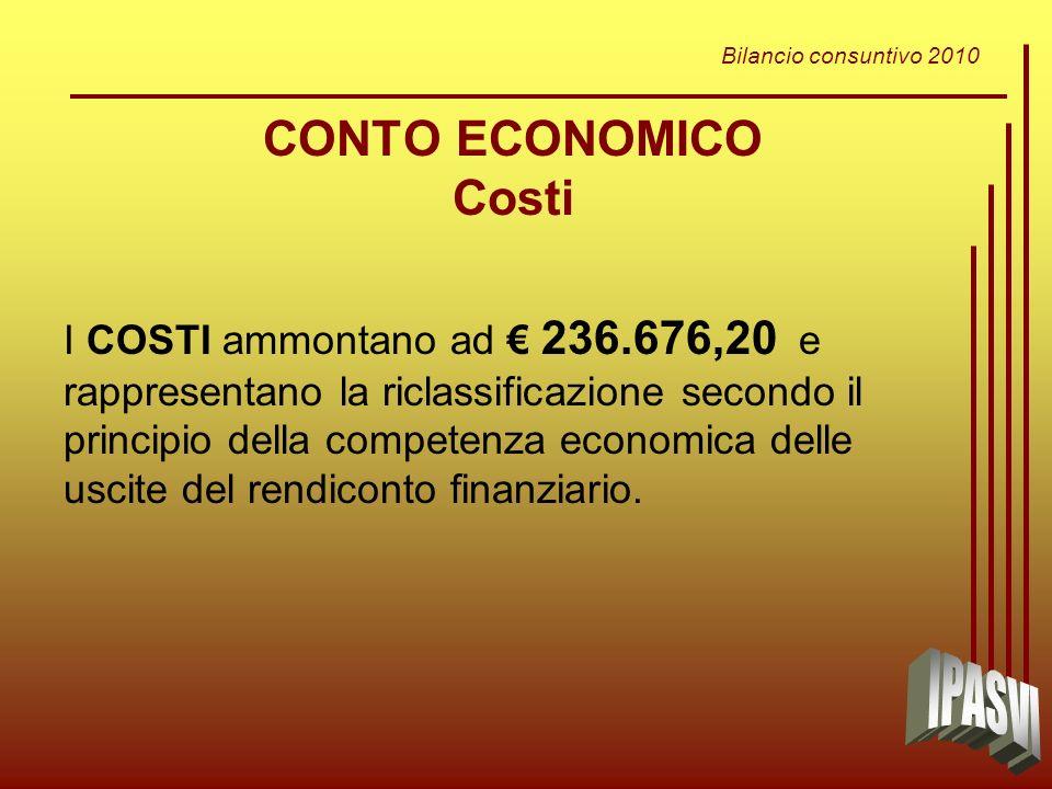 Bilancio consuntivo 2010 CONTO ECONOMICO Costi I COSTI ammontano ad 236.676,20 e rappresentano la riclassificazione secondo il principio della competenza economica delle uscite del rendiconto finanziario.