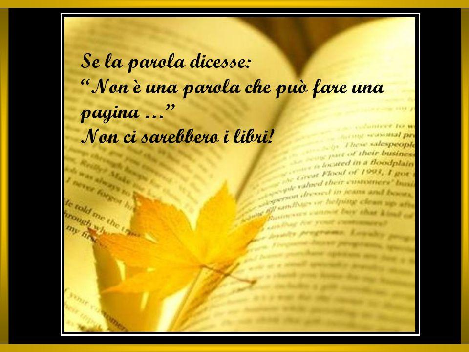 Se la parola dicesse: Non è una parola che può fare una pagina … Non ci sarebbero i libri!