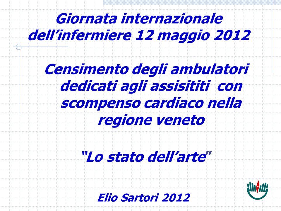 Elio Sartori Giornata internazionale dellinfermiere 12 maggio 2012 Censimento degli ambulatori dedicati agli assisititi con scompenso cardiaco nella regione veneto Lo stato dellarte Elio Sartori 2012