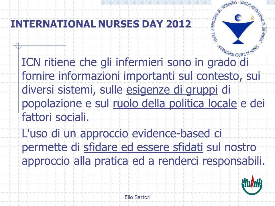 Elio Sartori ICN ritiene che gli infermieri sono in grado di fornire informazioni importanti sul contesto, sui diversi sistemi, sulle esigenze di gruppi di popolazione e sul ruolo della politica locale e dei fattori sociali.