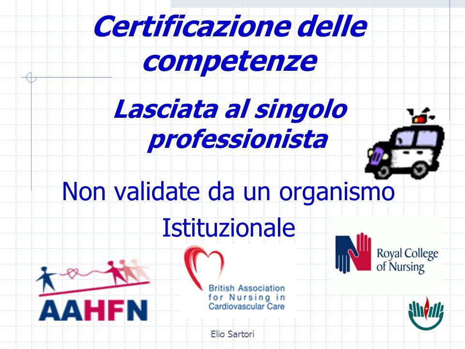 Elio Sartori Certificazione delle competenze Lasciata al singolo professionista Non validate da un organismo Istituzionale