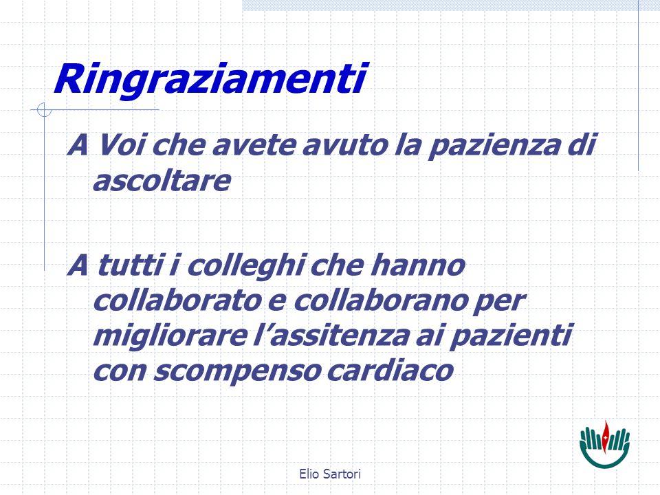 Elio Sartori Ringraziamenti A Voi che avete avuto la pazienza di ascoltare A tutti i colleghi che hanno collaborato e collaborano per migliorare lassitenza ai pazienti con scompenso cardiaco