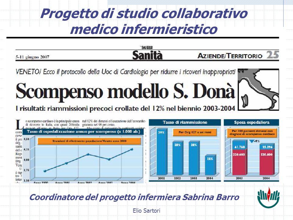 Elio Sartori Progetto di studio collaborativo medico infermieristico Coordinatore del progetto infermiera Sabrina Barro