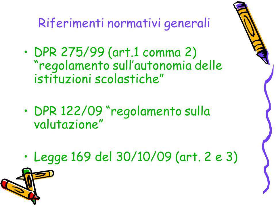 Riferimenti normativi generali DPR 275/99 (art.1 comma 2) regolamento sullautonomia delle istituzioni scolastiche DPR 122/09 regolamento sulla valutazione Legge 169 del 30/10/09 (art.