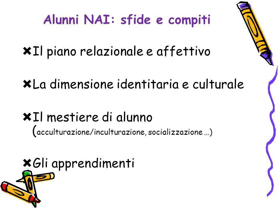 Alunni NAI: sfide e compiti Il piano relazionale e affettivo La dimensione identitaria e culturale Il mestiere di alunno ( acculturazione/inculturazione, socializzazione …) Gli apprendimenti
