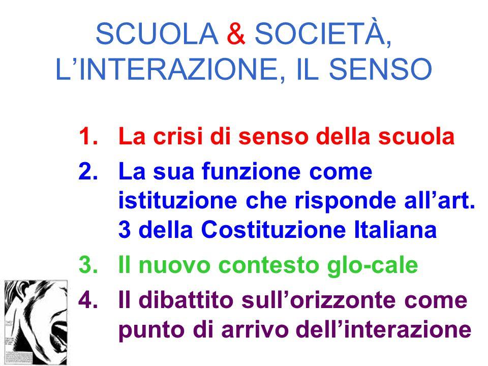 SCUOLA & SOCIETÀ, LINTERAZIONE, IL SENSO 1.La crisi di senso della scuola 2.La sua funzione come istituzione che risponde allart.