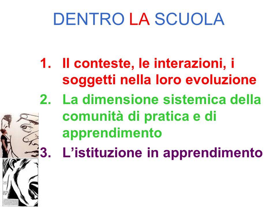 DENTRO LA SCUOLA 1.Il conteste, le interazioni, i soggetti nella loro evoluzione 2.La dimensione sistemica della comunità di pratica e di apprendimento 3.Listituzione in apprendimento