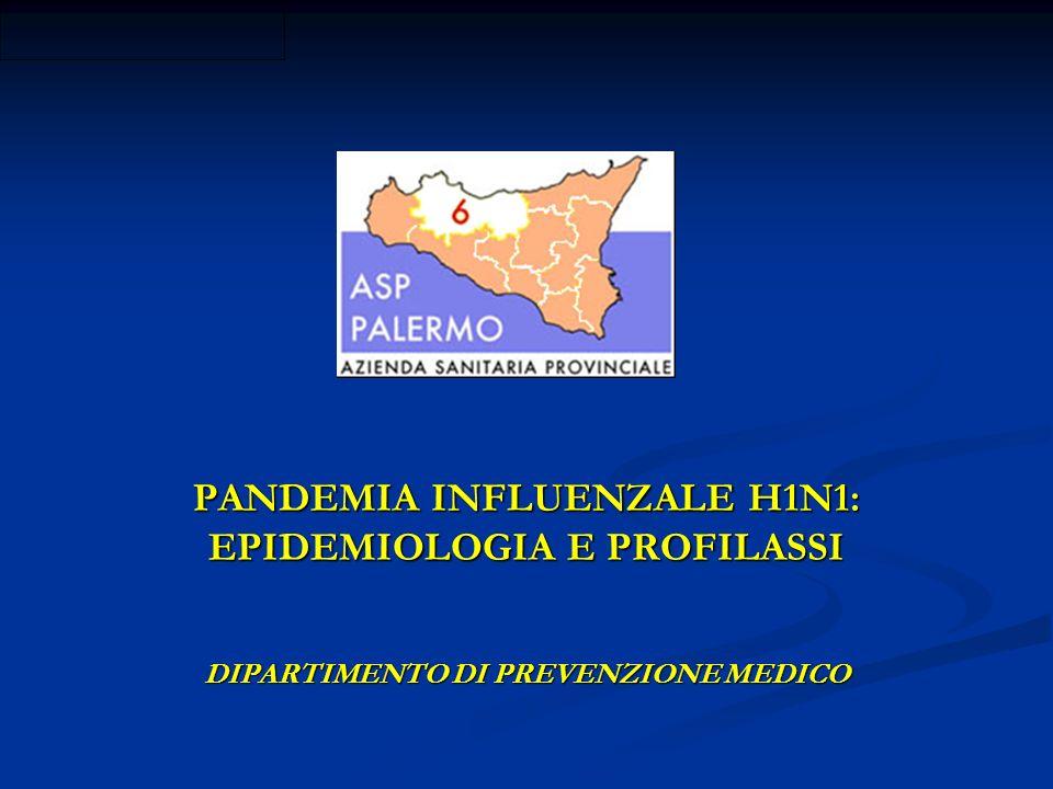 PANDEMIA INFLUENZALE H1N1: EPIDEMIOLOGIA E PROFILASSI DIPARTIMENTO DI PREVENZIONE MEDICO