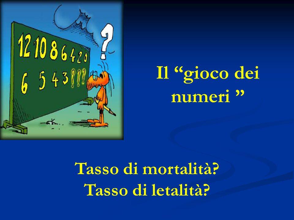 Il gioco dei numeri Tasso di mortalità? Tasso di letalità?