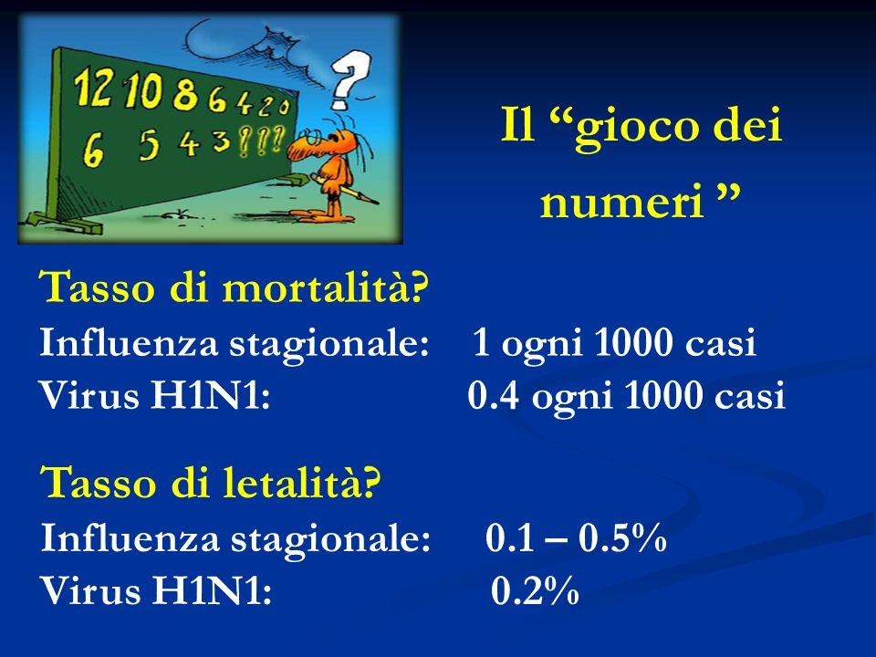 Il gioco dei numeri Tasso di mortalità? Influenza stagionale: 1 ogni 1000 casi Virus H1N1: 0.4 ogni 1000 casi Tasso di letalità? Influenza stagionale:
