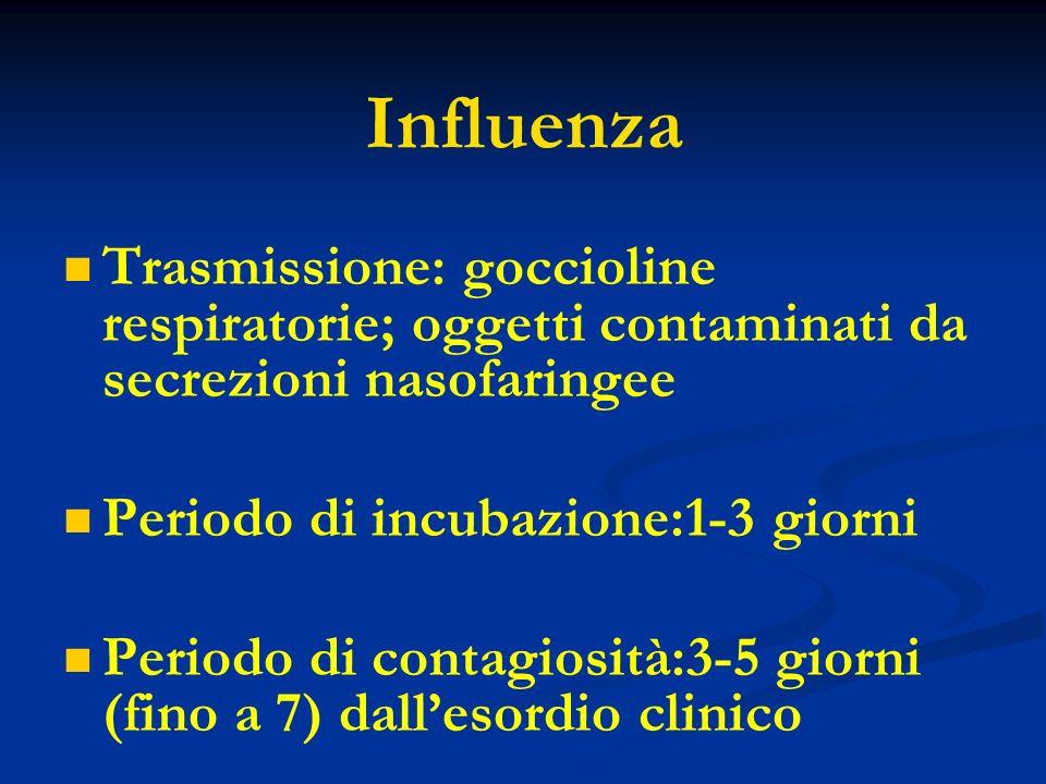 Influenza Trasmissione: goccioline respiratorie; oggetti contaminati da secrezioni nasofaringee Periodo di incubazione:1-3 giorni Periodo di contagios