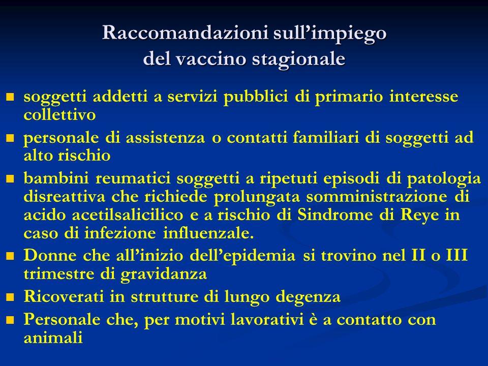 Raccomandazioni sullimpiego del vaccino stagionale soggetti addetti a servizi pubblici di primario interesse collettivo personale di assistenza o cont