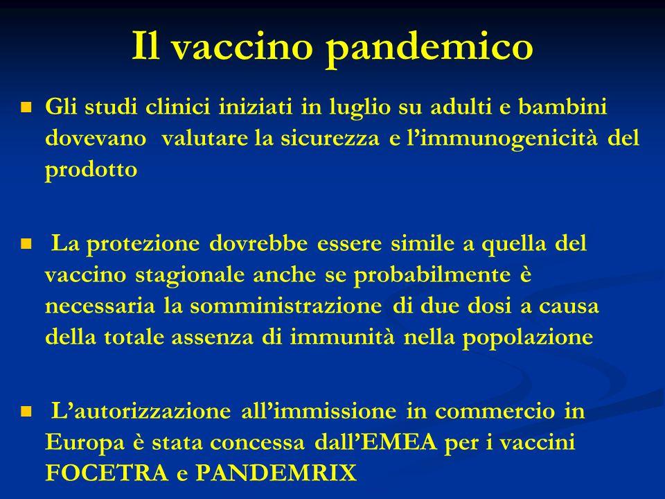 Il vaccino pandemico Gli studi clinici iniziati in luglio su adulti e bambini dovevano valutare la sicurezza e limmunogenicità del prodotto La protezi