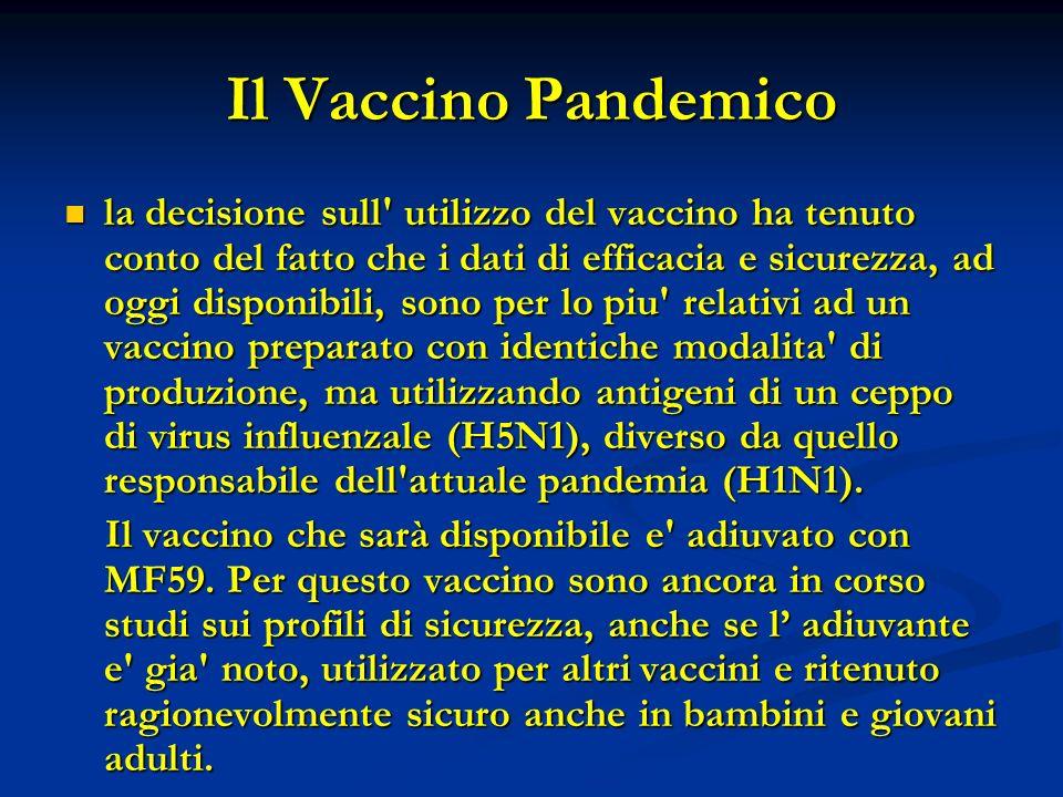 Il Vaccino Pandemico la decisione sull' utilizzo del vaccino ha tenuto conto del fatto che i dati di efficacia e sicurezza, ad oggi disponibili, sono
