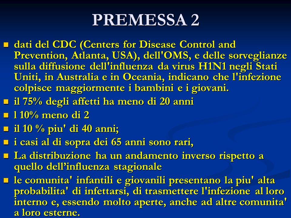 PREMESSA 2 dati del CDC (Centers for Disease Control and Prevention, Atlanta, USA), dell'OMS, e delle sorveglianze sulla diffusione dell'influenza da