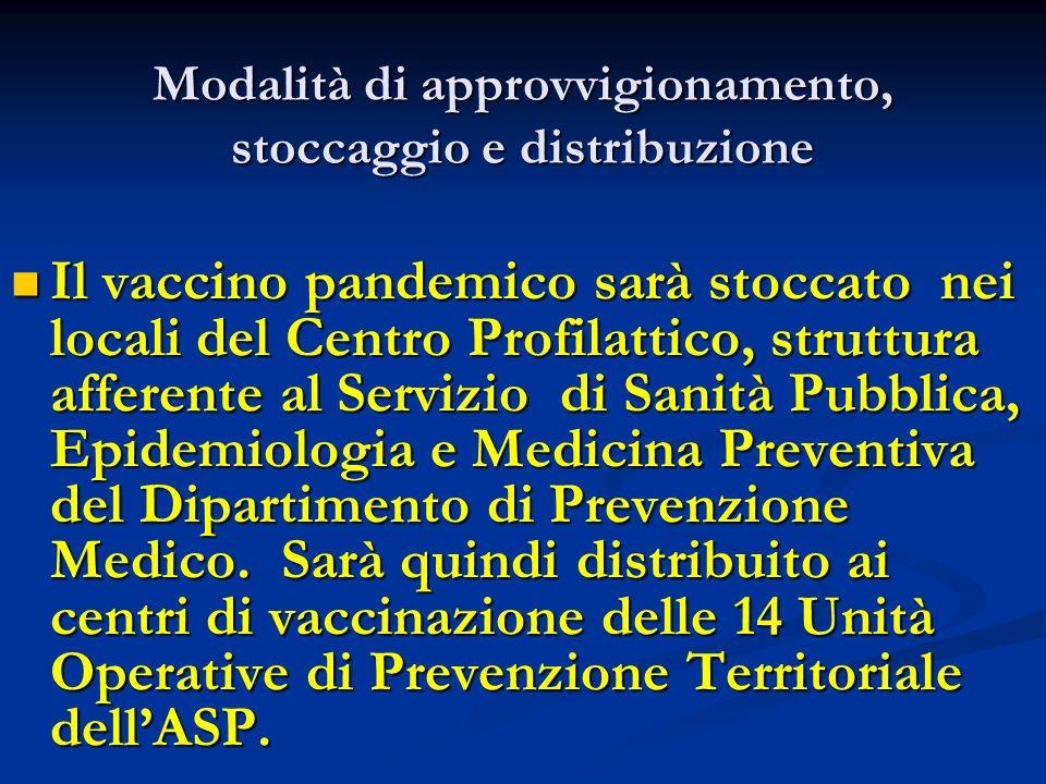 Modalità di approvvigionamento, stoccaggio e distribuzione Il vaccino pandemico sarà stoccato nei locali del Centro Profilattico, struttura afferente