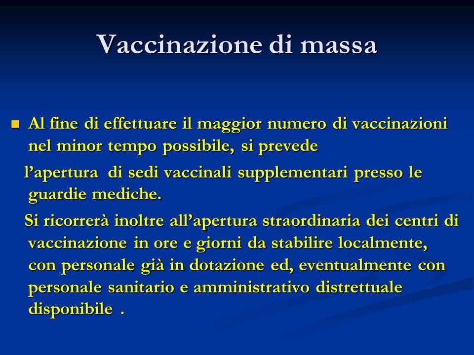 Vaccinazione di massa Al fine di effettuare il maggior numero di vaccinazioni nel minor tempo possibile, si prevede Al fine di effettuare il maggior n