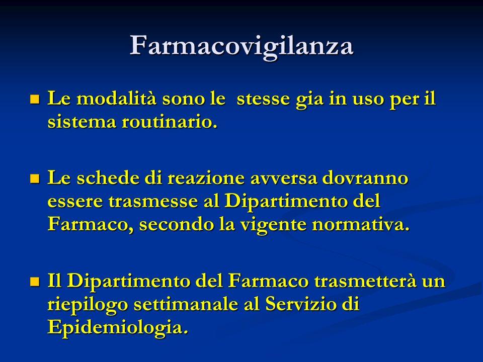 Farmacovigilanza Le modalità sono le stesse gia in uso per il sistema routinario. Le modalità sono le stesse gia in uso per il sistema routinario. Le