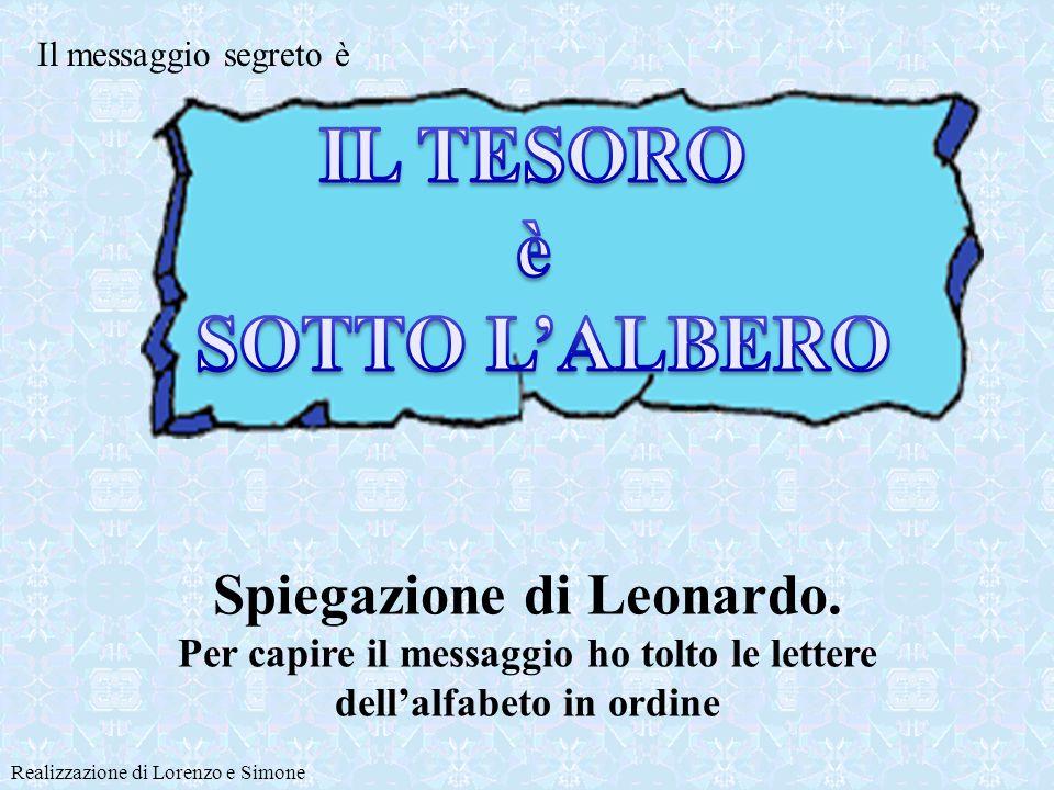La scritta sulla mappa contiene lesatta indicazione di dove è sepolto il tesoro Realizzazione di Lorenzo e Simone