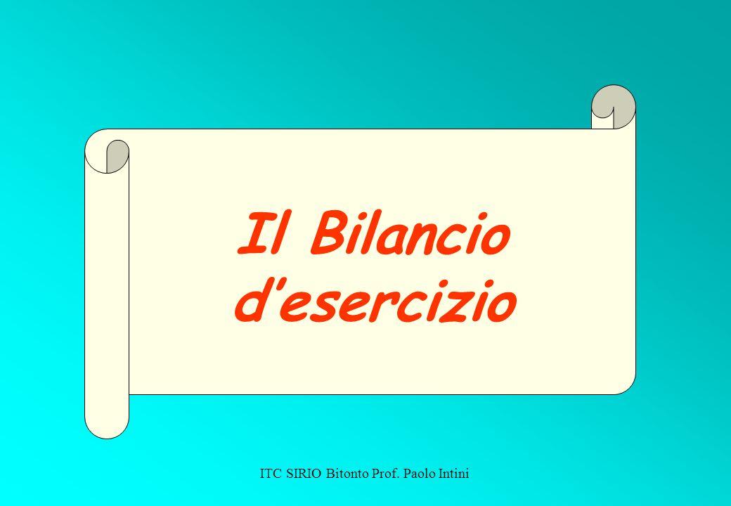 ITC SIRIO Bitonto Prof. Paolo Intini Il Bilancio desercizio