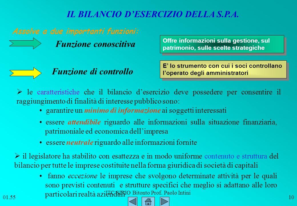 ITC SIRIO Bitonto Prof. Paolo Intini 01.5610 Assolve a due importanti funzioni: Funzione conoscitiva Funzione di controllo Offre informazioni sulla ge