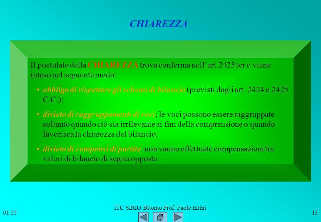 ITC SIRIO Bitonto Prof. Paolo Intini 01.5613 Il postulato della CHIAREZZA trova conferma nellart.2423 ter e viene inteso nel seguente modo: obbligo di