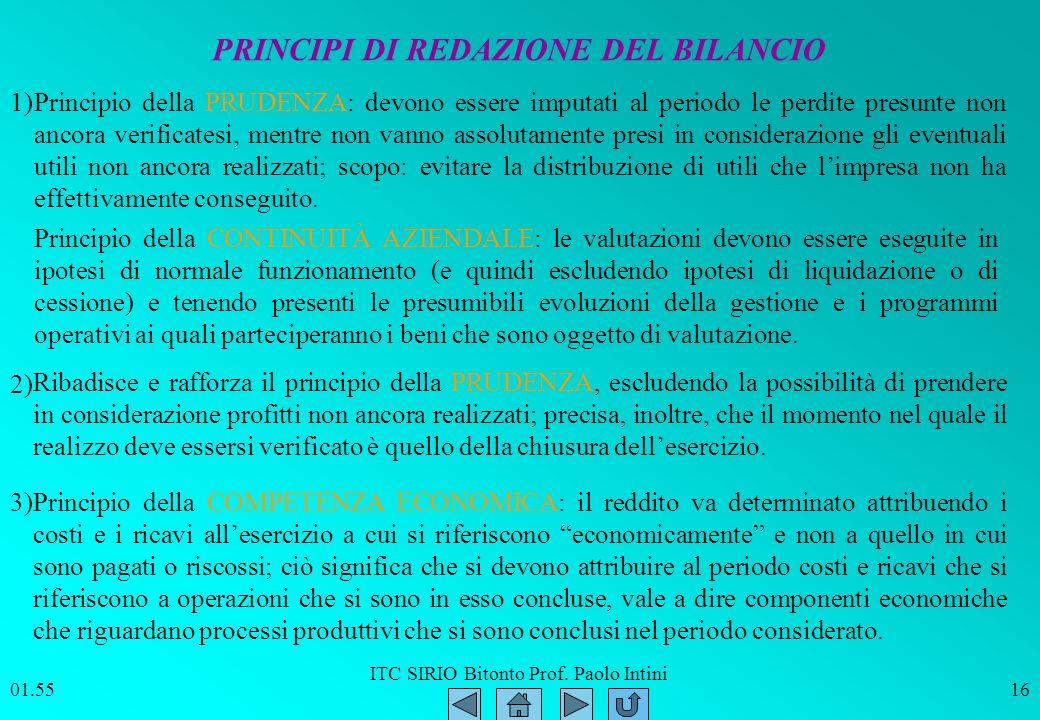 ITC SIRIO Bitonto Prof. Paolo Intini 01.5616 Principio della CONTINUITÀ AZIENDALE: le valutazioni devono essere eseguite in ipotesi di normale funzion