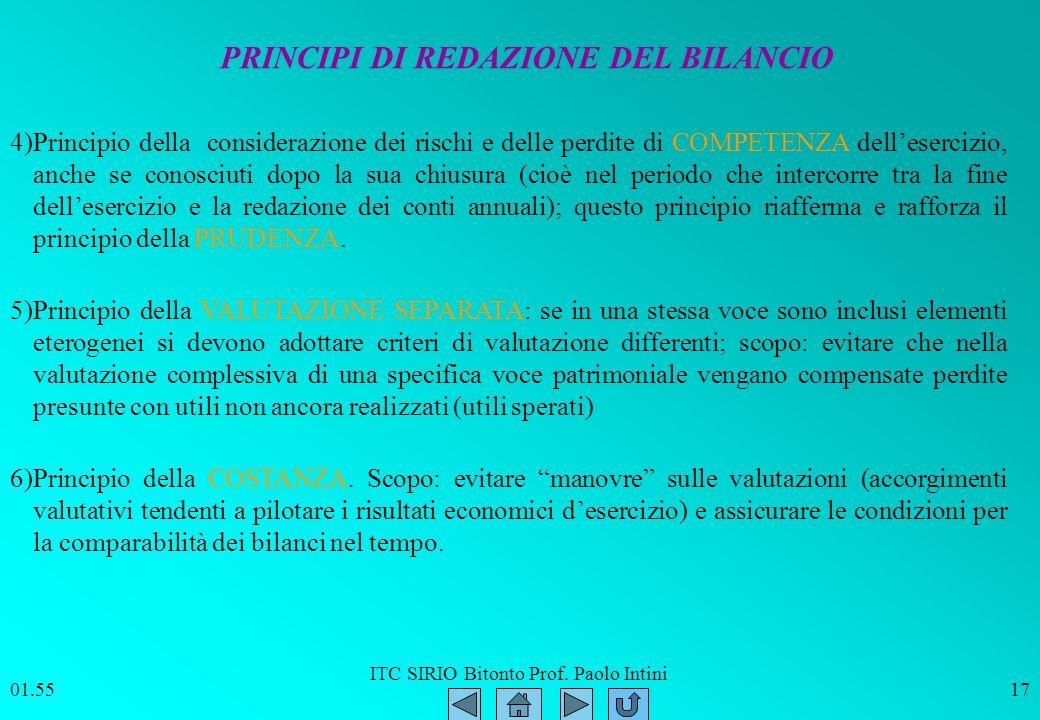 ITC SIRIO Bitonto Prof. Paolo Intini 01.5617 Principio della VALUTAZIONE SEPARATA: se in una stessa voce sono inclusi elementi eterogenei si devono ad