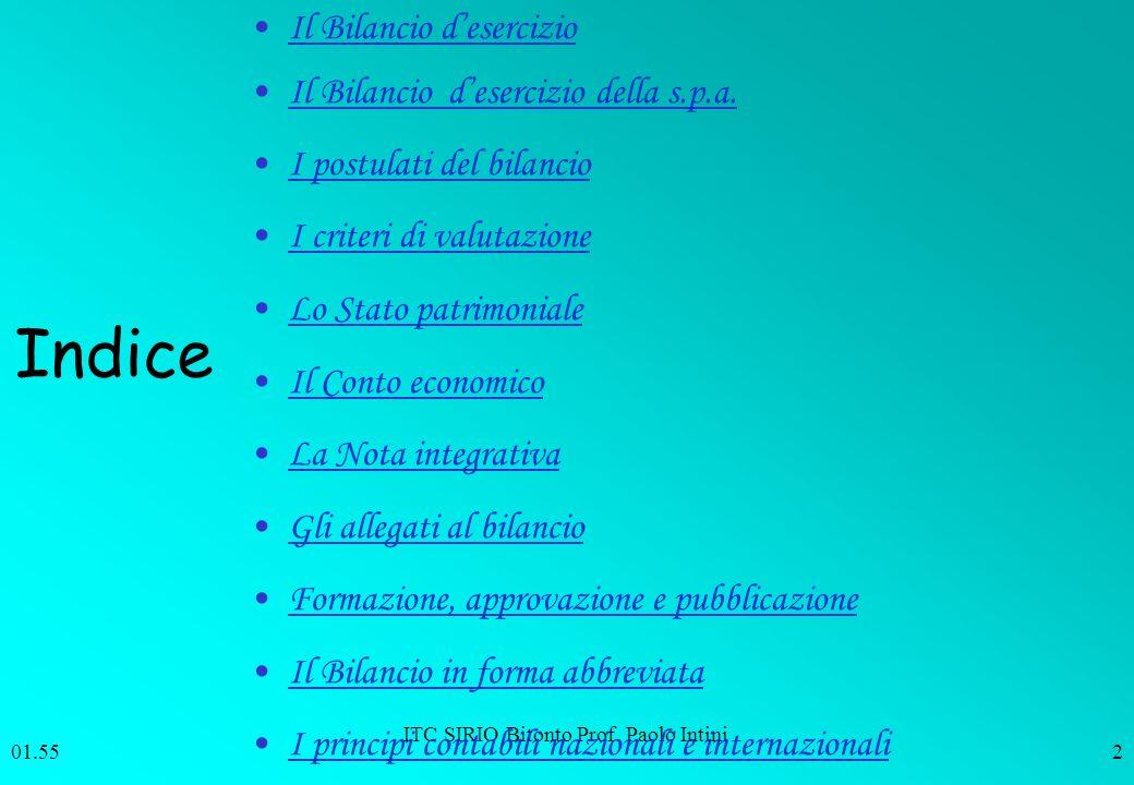 ITC SIRIO Bitonto Prof. Paolo Intini 01.562 Indice Il Bilancio desercizio Il Bilancio desercizio della s.p.a. I postulati del bilancio I criteri di va