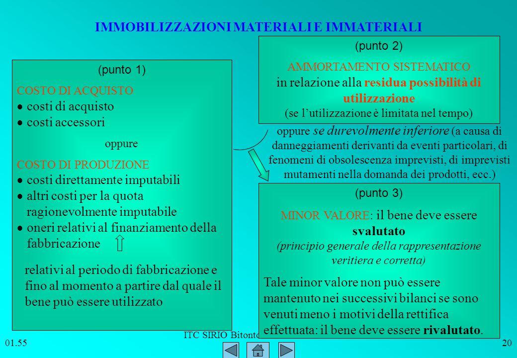 ITC SIRIO Bitonto Prof. Paolo Intini 01.5620 IMMOBILIZZAZIONI MATERIALI E IMMATERIALI (punto 1) COSTO DI ACQUISTO costi di acquisto costi accessori op
