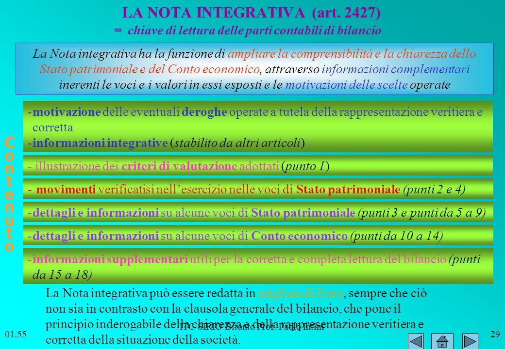 ITC SIRIO Bitonto Prof. Paolo Intini 01.5629 LA NOTA INTEGRATIVA (art. 2427) La Nota integrativa ha la funzione di ampliare la comprensibilità e la ch