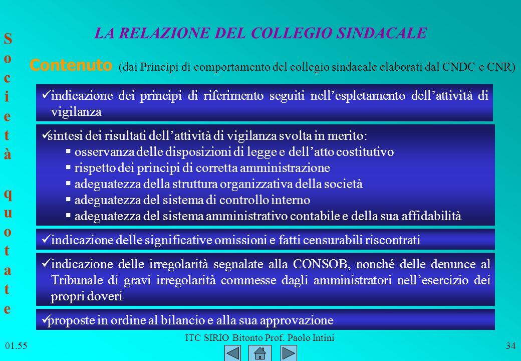 ITC SIRIO Bitonto Prof. Paolo Intini 01.5634 LA RELAZIONE DEL COLLEGIO SINDACALE indicazione dei principi di riferimento seguiti nellespletamento dell