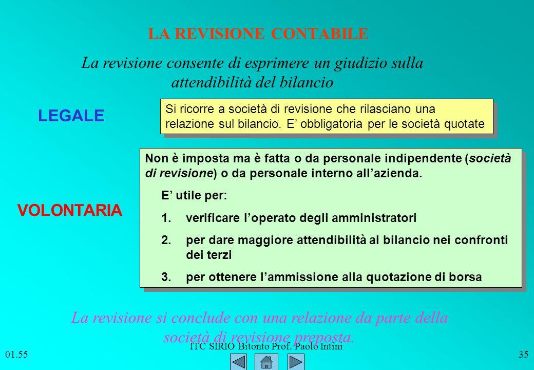 ITC SIRIO Bitonto Prof. Paolo Intini 01.5635 LA REVISIONE CONTABILE LEGALE VOLONTARIA La revisione consente di esprimere un giudizio sulla attendibili