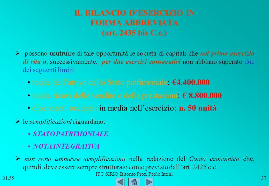 ITC SIRIO Bitonto Prof. Paolo Intini 01.5637 IL BILANCIO DESERCIZIO IN FORMA ABBREVIATA (art. 2435 bis C.c.) totale dellattivo dello Stato patrimonial