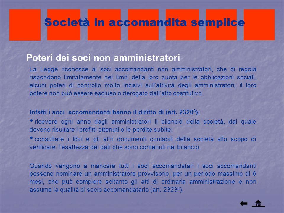 Società in accomandita semplice La Legge riconosce ai soci accomandanti non amministratori, che di regola rispondono limitatamente nei limiti della lo