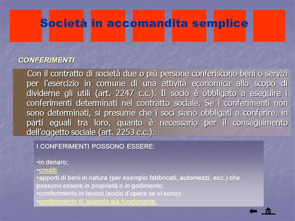 CONFERIMENTI Con il contratto di società due o più persone conferiscono beni o servizi per lesercizio in comune di una attività economica allo scopo d