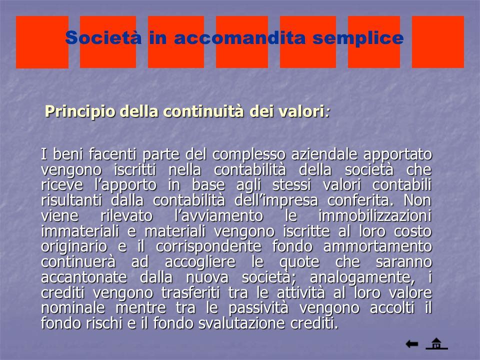Principio della continuità dei valori : I beni facenti parte del complesso aziendale apportato vengono iscritti nella contabilità della società che ri
